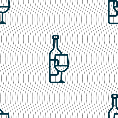 bocal: Wine bottle and wine glass icon sign. Seamless pattern with geometric texture. Vector illustration