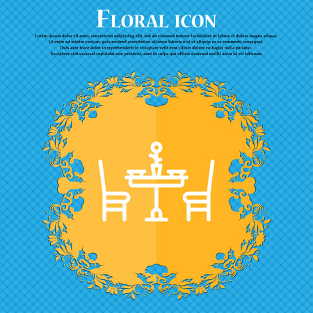 valentines day meal icon sign. Floral flat design on a blue abstract background with place for your text. Vector illustration