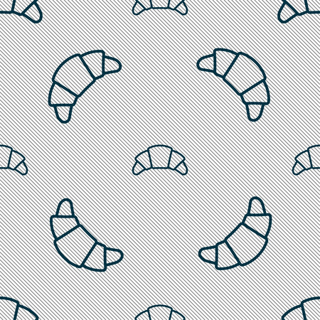 croissant bread icon sign. Seamless pattern with geometric texture. Vector illustration
