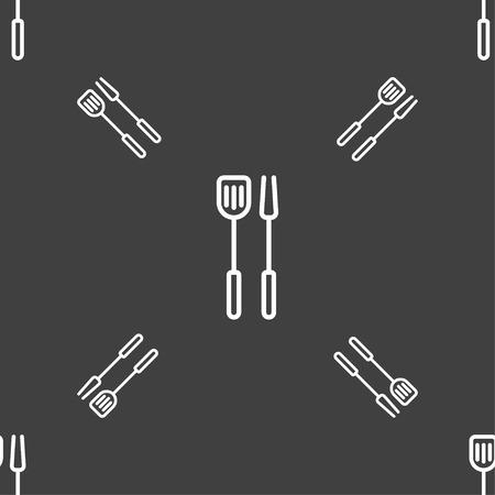 Kitchen utensils set icon sign. Seamless pattern on a gray background. Vector illustration