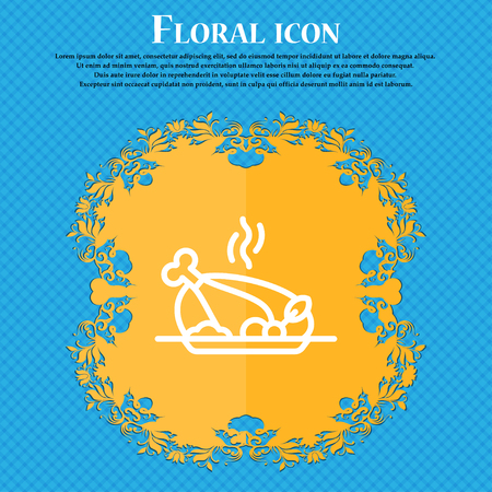 Grill, chicken, meat, barbecue, spice icon sign. Floral flat design on a blue abstract background with place for your text. Vector illustration Illustration