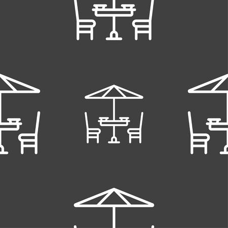 table avec signe de parapluie. Modèle sans couture sur un fond gris. Illustration vectorielle Vecteurs