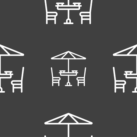 table with umbrella sign. Seamless pattern on a gray background. Vector illustration