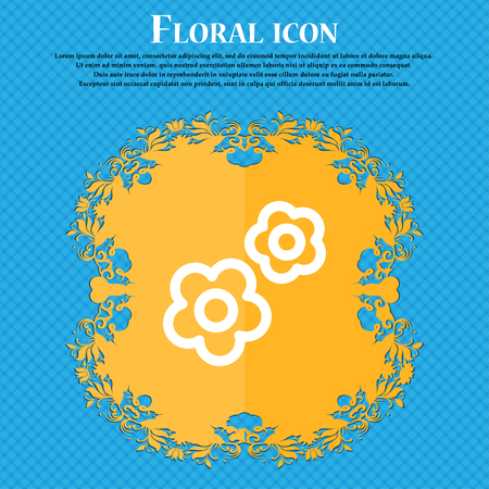 rackwheel: gear icon sign. Floral flat design on a blue abstract background with place for your text. Vector illustration