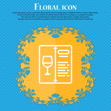 Food and drink application icon sign. Floral flat design on a blue abstract background with place for your text. Vector illustration Illustration