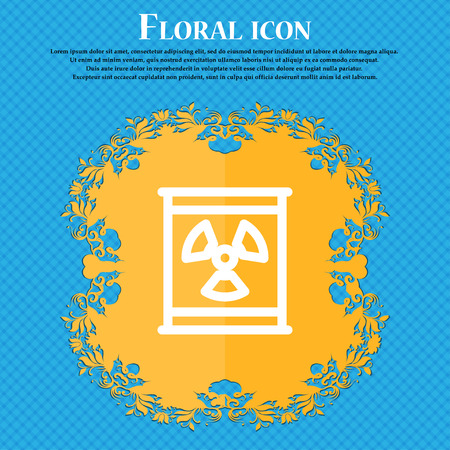 plutonium: Radiation icon sign. Floral flat design on a blue abstract background with place for your text. Vector illustration