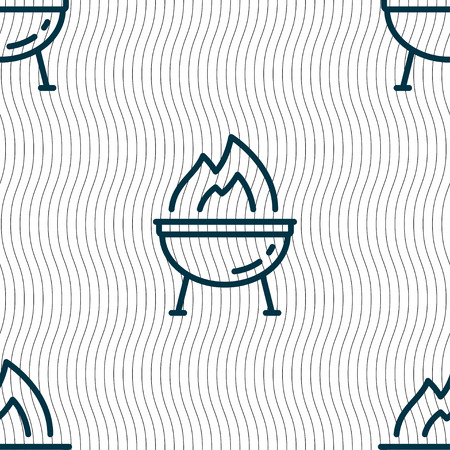 friend nobody: Grill icon sign. Seamless pattern with geometric texture. Vector illustration