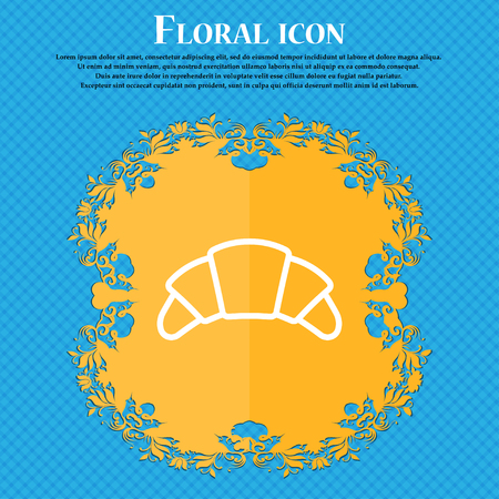 concave: croissant bread icon sign. Floral flat design on a blue abstract background with place for your text. Vector illustration