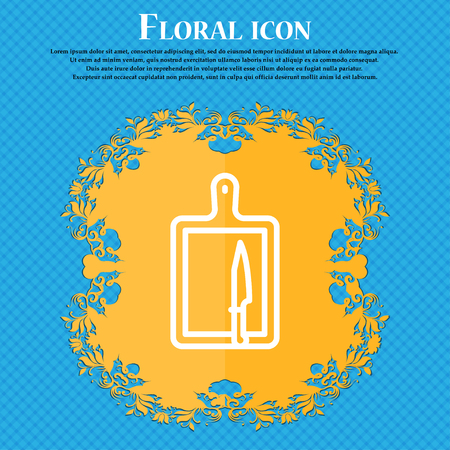 board and knife icon sign. Floral flat design on a blue abstract background with place for your text. Vector illustration Illustration