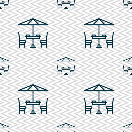 porch chair: table with umbrella sign. Seamless pattern with geometric texture. Vector illustration