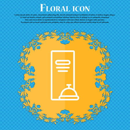 web portal: menu icon sign. Floral flat design on a blue abstract background with place for your text. Vector illustration