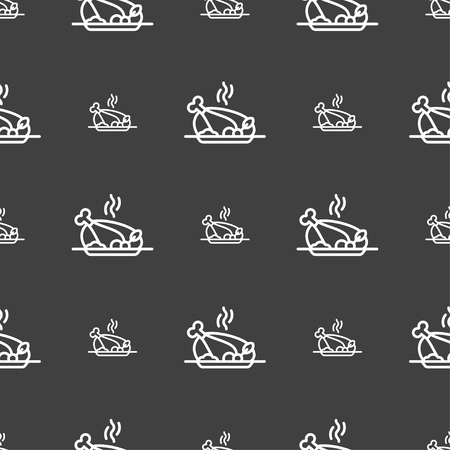 chicken meat: Grill, chicken, meat, barbecue, spice icon sign. Seamless pattern on a gray background. Vector illustration