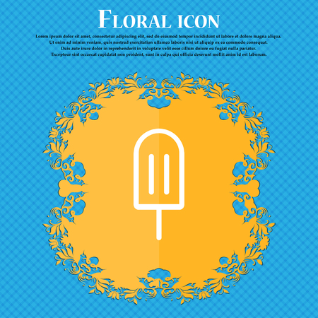 Ice Cream icon sign. Floral flat design on a blue abstract background with place for your text. Vector illustration Illustration