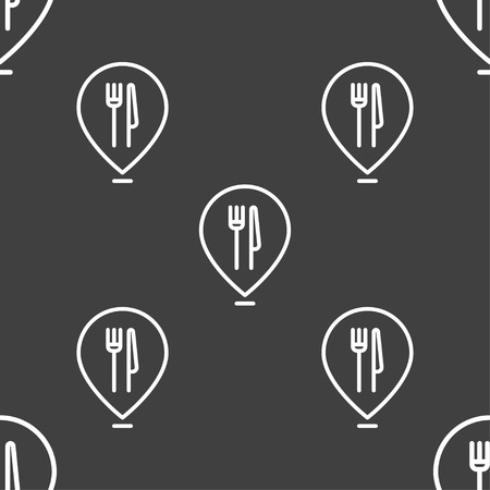excursions: Map pointer with restaurant icon sign. Seamless pattern on a gray background. Vector illustration
