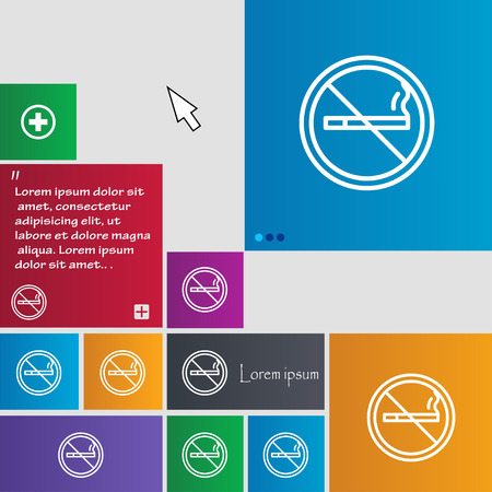 pernicious habit: No smoking icon sign. buttons. Modern interface website buttons with cursor pointer. Vector illustration