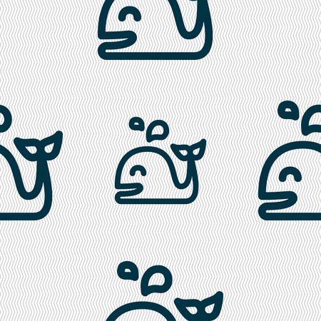 cetaceans: Whale icon sign. Seamless pattern with geometric texture. Vector illustration