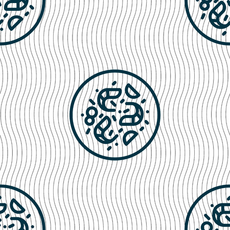 petri: bacteria icon sign. Seamless pattern with geometric texture. Vector illustration Illustration