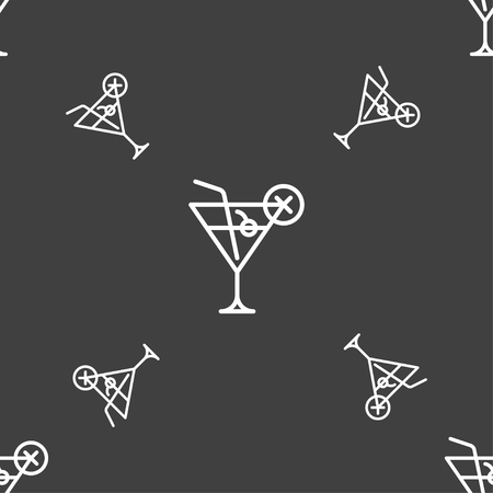 Martini glass icon sign. Seamless pattern on a gray background. Vector illustration Illustration