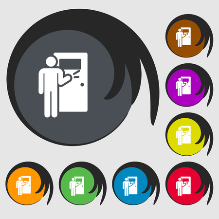 Colorful man knock on door Icons and signs in the form of a button or symbol for your design. Vector illustration. Stock Illustratie