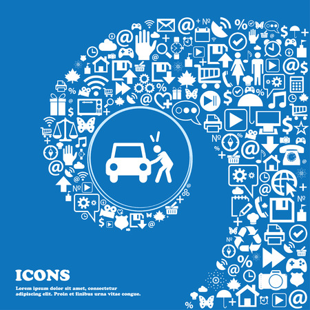 Colorful Icons and signs in the form of a button or symbol for your design. Vector illustration of man having trouble opening car