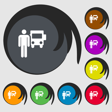 Colorful Icons and signs in the form of a button or symbol for your design. Vector illustration of man waiting for the bus Illustration