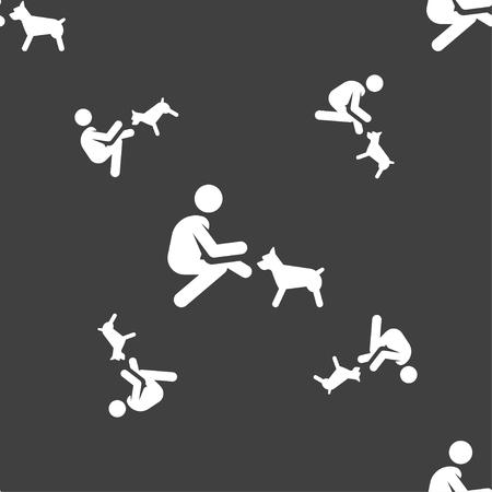 Feeding pet in silhouette illustration, seamless pattern. Иллюстрация
