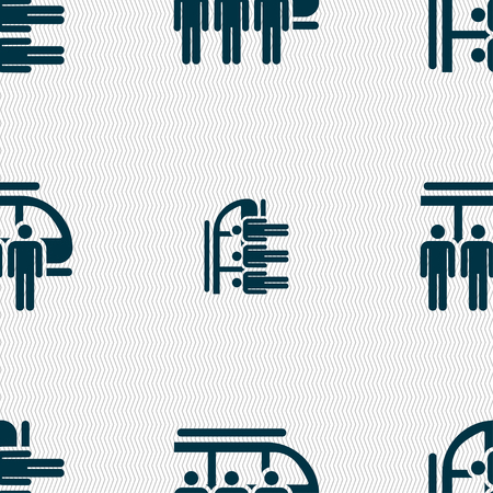 Public transportation courtesy in silhouette illustration, seamless pattern.