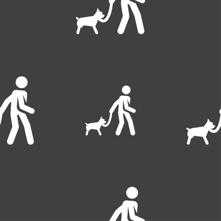 Pet walking in silhouette illustration, seamless pattern.