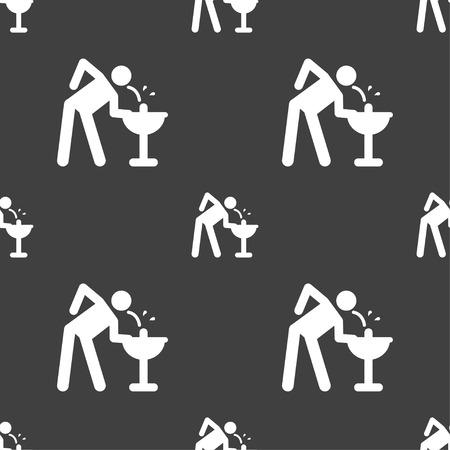 Drinking fountain in silhouette illustration, seamless pattern.