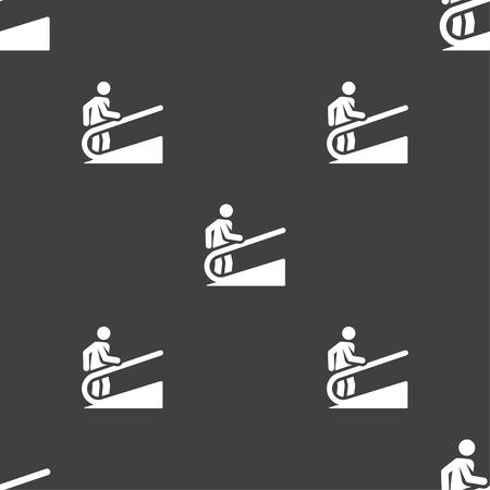 Escalator in silhouette illustration, seamless pattern.