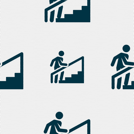 Man's silhouette while stairs icons and signs in the form of a button or symbol for your design. Vector illustration