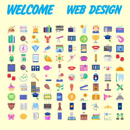 Universal set of social, technical, household icons isolated on background. Designed in a modern style - Material Design. Vector illustration Ilustração