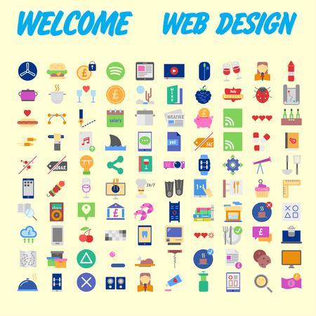 SEOと開発、ビジネスと金融、オフィスとビジネス、セキュリティと保護、ショッピングと商業 - 次のテーマに100フラットウェブアイコンのセット。ベクトルの図