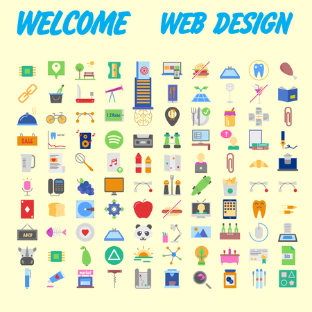set of 100 high quality flat icons. Vector illustration