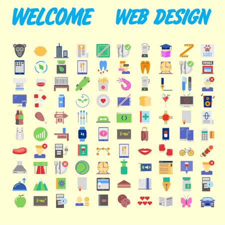 100 universal icons for web design on different topics. Vector illustration