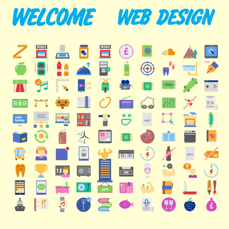 Simple set of vector flat line icons. Contains such Icons as Business, Marketing Shopping Banking E-commerce SEO Technology Medical Education Web Development and more. Vector illustration Stock Illustratie