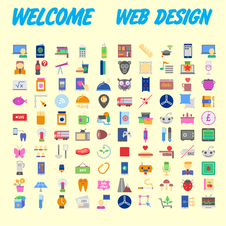 Set of 100 flat web icons on following themes - SEO and development, creative process, business and finance, office and business, security and protection, shopping and commerce. Vector illustration