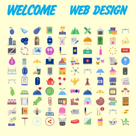 100 universal icons for web design on different topics. Vector illustration Banco de Imagens - 102485023