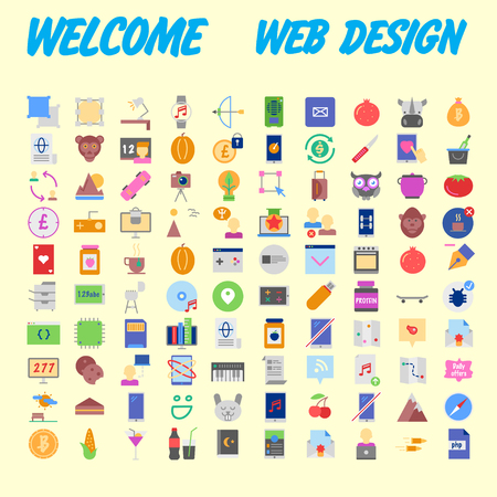 set of 100 flat style education icons, vector illustration Banco de Imagens - 102485056
