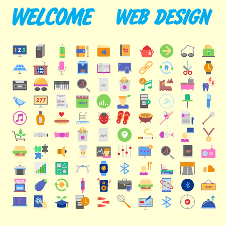 100 icon set. Trendy thin and simple icons for Web and Mobile. Light version. Vector illustration Stock Vector - 102478004
