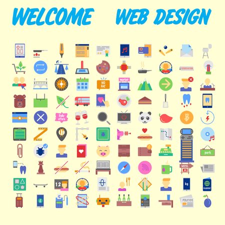 Set vector line icons in flat design with elements for mobile concepts and web apps. Collection modern infographic logo and pictogram. Vector illustration Banco de Imagens - 102485060