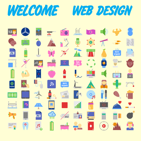 100 icon set. Trendy thin and simple icons for Web and Mobile. Light version. Vector illustration Banco de Imagens - 103248982