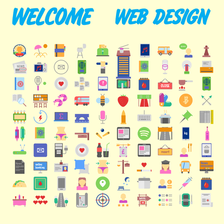 Universal set of social, technical, household icons isolated on background. Designed in a modern style - Material Design. Vector illustration Illustration