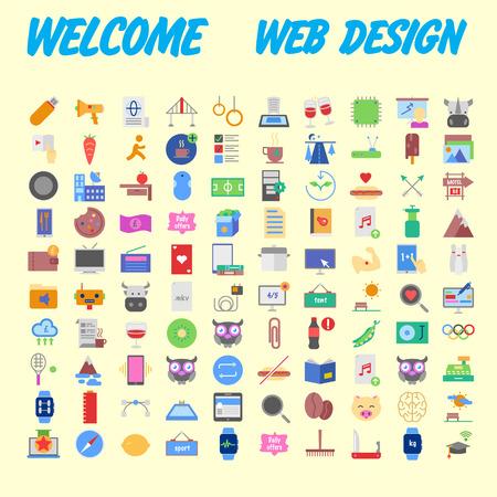 Set of 100 universal modern thin line icons for web and mobile. Vector illustration Ilustração