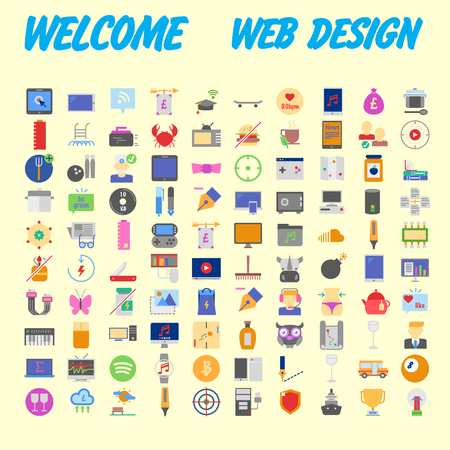 Set of multicolored icons for your design.Vector illustration