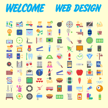 Simple set of vector flat line icons. Contains such Icons as Business, Marketing Shopping Banking E-commerce SEO Technology Medical Education Web Development and more. Vector illustration Ilustração