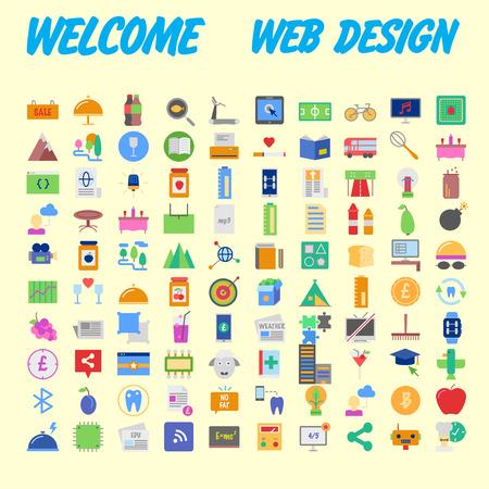 set of 100 flat style education icons, vector illustration