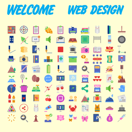 Flat seo optimization, business startup and essential, advertising, banking and finance icons set for website and mobile site and apps. Simple pictogram pack. Vector illustration