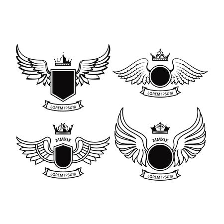 SHIELD DESIGN WITH WINGS COLLECTIONS Vectores