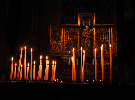 prayer candles: candles in the church